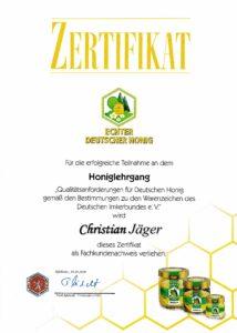 Honigzertifikat von Chr. Jäger